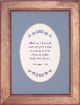 Choose from over 50 scriptures, with choice of mat color in a deluxe hardwood frame.